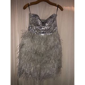 NWT Bebe Isis Feather Sequin Dress